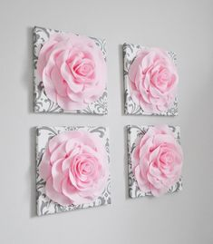 Points You Should Know Prior To Obtaining Bouquets Floral Wall Decor - Set Of Four Pink And White And Gray Damask Flower Wall Hangings 12 Canvases Flower Wall Art- Hanging Flower Wall, Paper Flower Wall, Flower Wall Decor, Floral Wall Art, Damask Nursery, Floral Nursery, Nursery Canvas, Wall Decor Set, Nursery Wall Decor