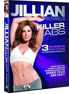 Jillian Michaels Killer Abs $5.42 Blast off fat and combat stubborn trouble areas to shred your abs fast With three 30-minute calorie-burning ab workouts Workouts progress in difficulty, so theres something for everyone 100 minutes Made exclusively by Gaiam