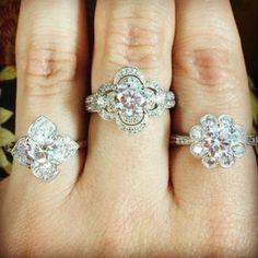 Flower Diamond Engagement Rings from Sylvie