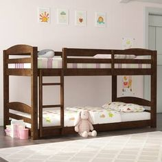 Harriet Bee Howell Daybed with Bookcase and 2 Drawers & Reviews   Wayfair Bunk Bed With Trundle, Full Bunk Beds, Kid Beds, Bunk Beds With Stairs, Full Bed, Traditional Bunk Beds, Lien Internet, Triple Bed, Grey Bed Frame
