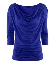 H Jersey top with a draped neckline and 3/4-length sleeves.