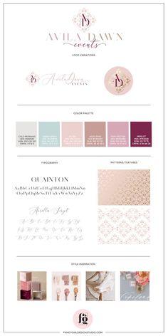 Featured project: avila dawn events design inspiration web d Palette Pastel, Palette Diy, Branding Kit, Branding Design, Resume Design, Graphic Design Fonts, Web Design, Urban Ideas, Unique Bridal Shower