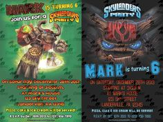 """Skylanders Invitations & matching Party Supplies available .This invitation in the Skylanders theme will """"WOW"""" your party guests. Customized just for you; party supplies to match are available. 16 different design styles to choose from. Wholesale Office Supplies, 6th Birthday Parties, Birthday Ideas, Custom Party Invitations, Skylanders, Party Guests, Party Supplies, Design Styles"""