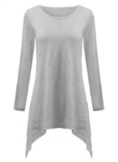 eed7a0f83c6b58 Asymmetrical Casual Gray Fishtail Hem Long Sleeve Cotton Loose Women T-Shirt  Cheap Womens Tops