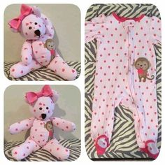 Sewing Teddy Bear Turn your favorite baby sleeper or clothes into a keepsake bear. - Learn how to make a memory bear with Joy Kelley's tutorial Fabric Crafts, Sewing Crafts, Sewing Ideas, Diy Projects, Sewing Projects For Kids, Upcycled Crafts, Repurposed, Used Baby Clothes, Diy Clothes