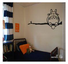 Totoro sur arbre branche Wall Decor Decal pépinière chambre Wall Art Sticker Art Anime enfants chambre autocollant vinyle Art de mon voisin Totoro enfant