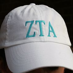Zeta Tau Alpha (ZTA) Sorority Hat White with Blue Letters   26.00. Great e3c467878bab