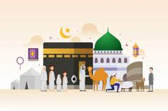 Eid Adha Mubarak With Tiny People Character Design Concept Hajj And Umrah Season Saudi National Day Saudi Arabia National Day Vector and PNG Eid Adha Mubarak, Eid Mubarak Vector, Ied Mubarak, Eid Ul Adha Images, Eid Images, Mubarak Images, Vector Character, Character Design, Muslim Celebrations