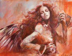 Der Schlafenengel 151a, Mischtechnik, Blendrahmen Angels, Artworks, Painting, Atelier, Angel, Painting Art, Paintings, Painted Canvas, Drawings