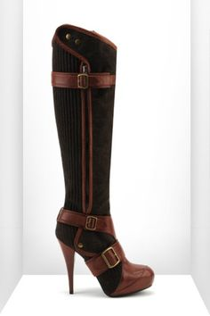 Tweed & Calf Leather Boot From United Nude 2