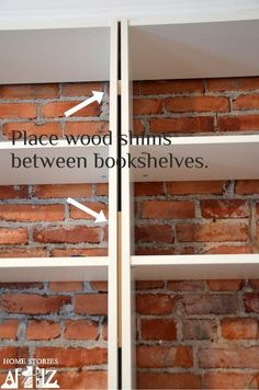 built in bookshelves with brick backing... cute! Ikea Hack: Billy Built-in Bookshelves (Part 1) - Home Stories A to Z