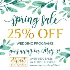 Shop my sale: 25% off. https://etsy.me/2rELL8w - only in May - 25% off - for all wedding programs