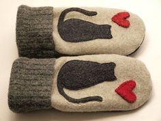 Sweater Mittens, Felting, Recycling, Projects To Try, Warm, Etsy, Animals, Recycled Leather, Gloves