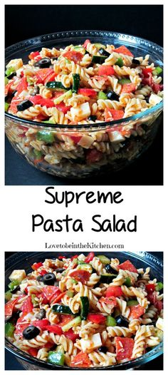 Supreme Pasta Salad- Easy to put together, packed with veggies and flavor! This is sure to be a hit at your next get-together! Best Pasta Salad, Easy Pasta Salad Recipe, Summer Pasta Salad, Pasta Salad Italian, Summer Salads, Pasta Recipes, Tortellini Salad, Spinach Recipes, Kraft Recipes