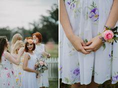 Floral Print Bridesmaid Dresses / Justin Aaron Photography