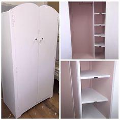 Painted vintage wardrobe White & pink interior   Www.facebook.com/skylarbellepaintedfurniture Tall Cabinet Storage, Locker Storage, Vintage Wardrobe, Painted Furniture, Lockers, Facebook, Interior, Pink, Home Decor