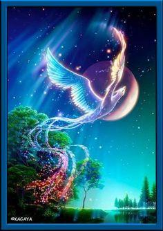Ave fénix volando por la noche