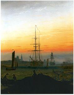 Hafen von Greifswald Caspar David Friedrich, Hieronymus Bosch, Old Master, Master Art, Casper David, Romance Art, Night Skies, 18th Century, Islands