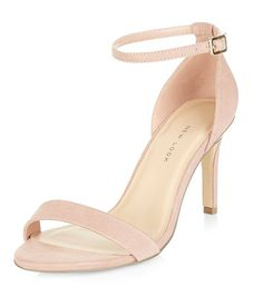 Wide Fit Pink Suedette Metal Trim Ankle Strap Heels  | New Look