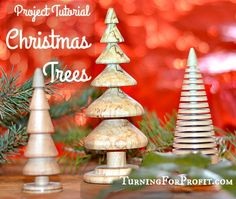Turning Christmas trees are great woodturning projects.  You can make them larger to be a table decoration or small enough to hang on your tree.