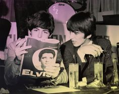 Paul McCartney and George Harrison reading all about guess who?
