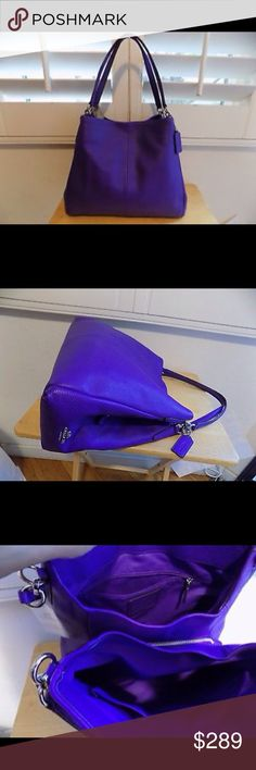 "COACH ULTRAVIOLET LEATHER PHOEBE PURSE RARE!! EXCELLENT CONDITION, LITTLE TO NO WEAR STUFFED IN PHOTOS 13"" (L) x 11"" (H)  Ultraviolet purple leather with silver tone hardware Style No. F35723 Inside fully line with fabric/ zip / cellphone / multifunction pockets 3 compartments zip top closure center front and back snap closures Double handles with 8"" drop Coach Bags Shoulder Bags"