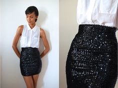 Vtg High Waist Black Sequined Stretchy Mini Bandage by LuluTresors, $27.99