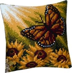 Autumn Butterfly Cross Stitch Cushion Kit By Vervaco Counted Cross Stitch Kits, Cross Stitch Charts, Cross Stitch Designs, Cross Stitch Patterns, Needlepoint Pillows, Needlepoint Patterns, Butterfly Cross Stitch, Cross Stitch Flowers, Cross Stitching