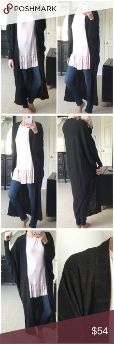 "▫️Ash Drop Shoulder Maxi Cardigan Ash maxi cardigan with drop shoulder design. Wide dolman sleeve fit. Oversized fit. Not too heavy and not too lightweight. Also available in mauve. Great basic piece. 55% cotton 45% polyester. Modeling S/M. I'm 5'4"" for reference. (Previously sold in Mauve!) M/L can fit XL, too. Length: 46"" *Bundle 2+ items for discount. Sweaters Cardigans"