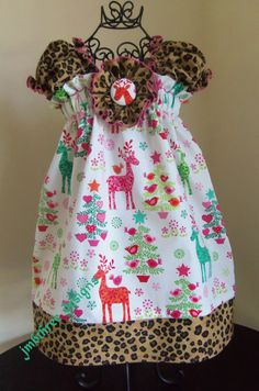 New Christmas Deer Dress in your choice of size 0-3m, 3-9m, 9-12m, 12-18m, 18-24m, 2t,  or 3t