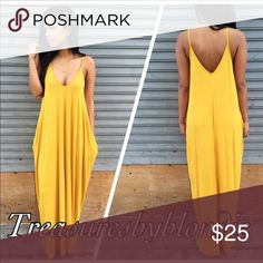 """🔥 Large Alluring Maxi Dress New mustard color Sleeveless maxi Dress with pockets. Very comfortable. Runs true to size. Large will fit a US12/14. 95%Rayon 5%Spandex. Feels very soft and luxurious on.   60"""" length.  Only size large left. TBB Boutique Dresses Maxi"""