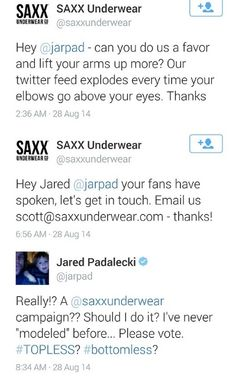 Please God let this happen... and I vote for both, definitely! #jarpad #SAXX #JaredPadalecki