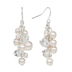 Croft & Barrow Silver Tone Simulated Pearl & Bead Cluster Drop Earrings