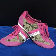 Coach Kortney Sneakers Brand new!  Hot pink and khaki, with logo C's and stripe. Price firm, reasonable offers welcome. Coach Shoes Sneakers