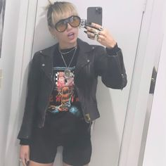 Happy Hippie Foundation, Leather Skirt, Leather Jacket, Rock Outfits, Miley Cyrus, Dress Me Up, Instagram Story, Punk