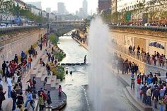 A stream was buried in the heart of Seoul for 30 years under an elevated highway until it was uncovered and turned into an urban park.