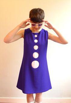 60s blue white polka dot sleeveless mod shift mini dress S