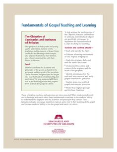Fundamentals of Gospel Teaching and Learning. http://www.lds.org/manual/seminary?lang=eng