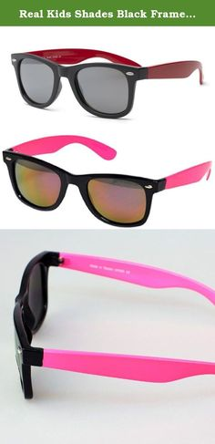 Real Kids Shades Black Frame/Neon Pink Temples Mirror 10+ Lens. Swag is based on the iconic Wayfarer style but proportioned for kids ages 10+. Swag comes in nine cool color combinations, so be prepared to stock up on a variety of colors. A soft, impact-resistant polycarbonate frame means these sunglasses are won't break. As with all Real Kids products they come with 100% UVA/UVB protection.
