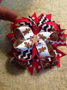 The Ginger Bread Man Leopard chevron Bow by CourtneyLoveBoutique, $15.00