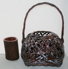 Intensely GORGEOUS Hand Crafted JAPANESE Ikebana BASKET with BAMBOO VASE Label