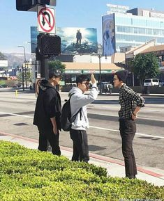 160214 Chanyeol , D.O and Sehun in front of Loews Hollywood Hotel