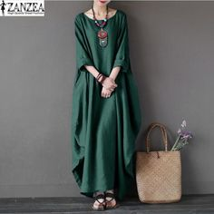Tops Blusas 2017 ZANZEA Women Oversized Round Neck 3/4 Sleeve Tunic Baggy Casual Maxi Long Shirt Dress Kaftan Robe Vestido