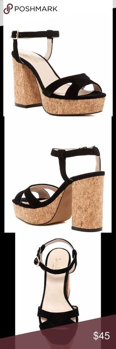 Shellys London Sandal Open toe, suede construction, adjustable ankle strap with buckle closure, cork platform sole and heel. Suede upper, manmade sole. Size 40 (10). Shellys London Shoes Sandals