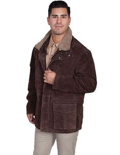 NWT Scully Men's Brown Suede Leather Four Pocket Western Frontier Jacket - XL #Scully #WesternFrontier