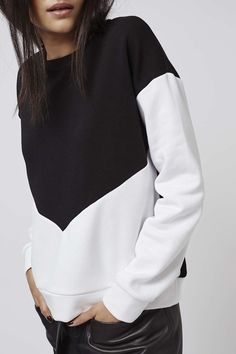 Mono Colour Block Sweatshirt - Tops - Clothing - Topshop