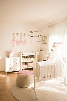 baby girls room- white and light pink... so pretty and whimsical
