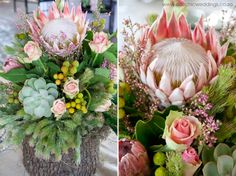 Johannesburg wedding flowers with the Protea - South Africa's national flower. Protea Wedding, Wedding Flowers, South Africa Honeymoon, Wedding Reception Decorations, Wedding Ideas, Reception Ideas, Industrial Wedding, Our Wedding Day, Flower Decorations