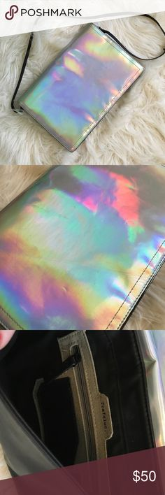"Zara Holographic Clutch Great used condition. Has some scratches. Please see photos. Comes with optional shoulder strap. 12"" x 8"". Amazing for a night out! Lots of space! Zara Bags"
