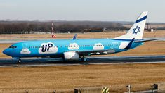 Up (IL) Boeing 737-8Z9 4X-EKU aircraft, named ''Ra'anana'', rolling at Hungary, Budapest Ferenz Liszt Int'l Airport (or Ferihegy). 03/02/2017. (Ra'anana=a city in the heart of the Southern Sharon Plaine).